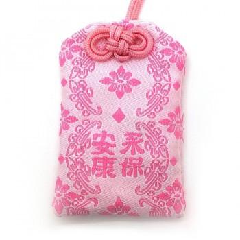 天然石御守 永保安康 ピンク ラピスラズリ ビニールカバー付き  gemstone amulet lapis lazurite  Peace forever & good health