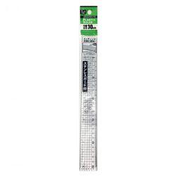 カッティングに便利なステンレスエッジ付方眼入30cm定規
