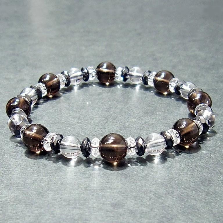 パワーストーンブレスレット スモーキークオーツ&ヘマタイト&水晶 gemstonebracelet