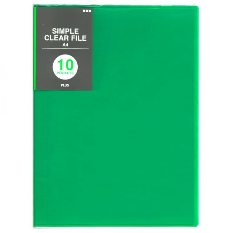 PLUSシンプルクリアファイル10ポケット グリーン