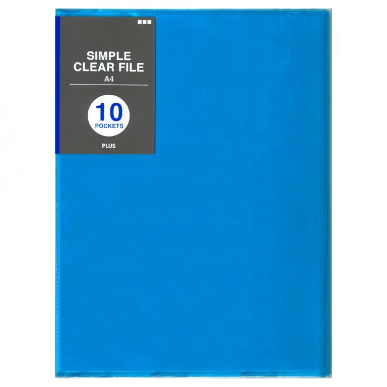 PLUSシンプルクリアファイル10ポケット ブルー