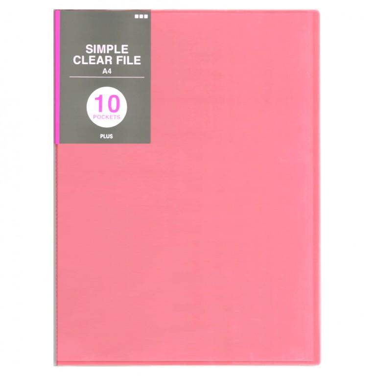 PLUSシンプルクリアファイル10ポケット ピンク