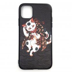 iPhoneケース 猫 ブラック 和柄TPUソフトケース iPhone11/11Pro/11ProMax スマホ アイフォン ケース カバー