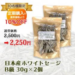 【定期購入】日本産 浄化用ホワイトセージ B級 約30g×2個 Japanese white sage