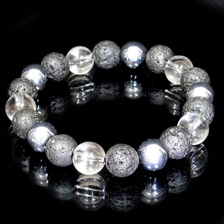 パワーストーン ブレスレット ラバストーン・テラヘルツ&水晶 10mm gemstonebracelet  Lava stone Terahertz crystal