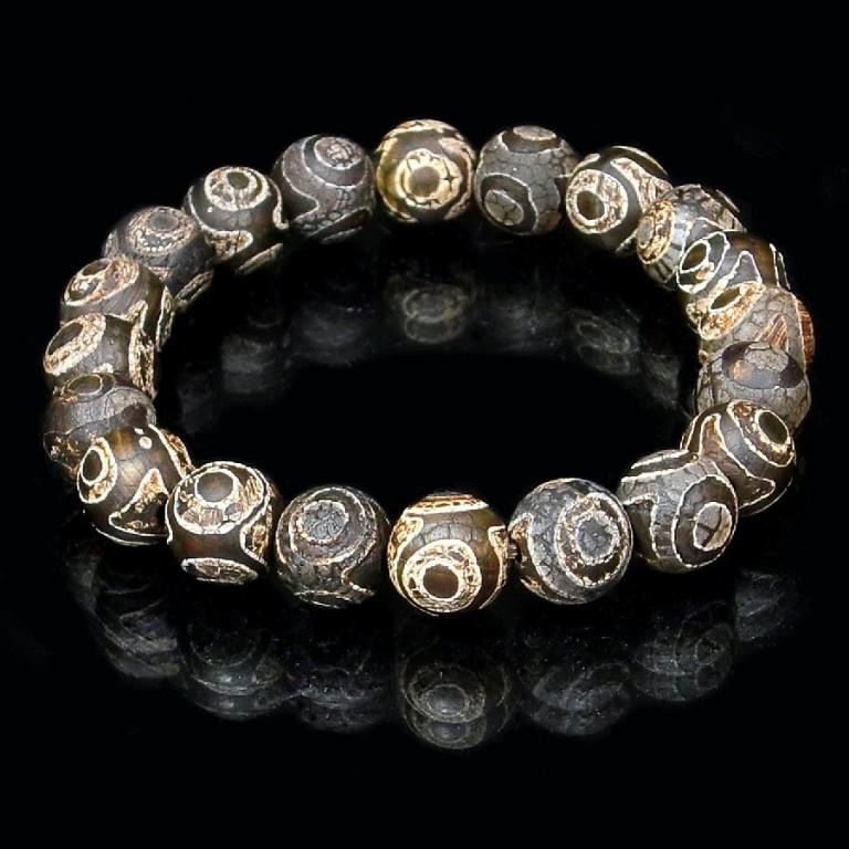 パワーストーン ブレスレット 三眼天珠 DziBeads 10mm gemstonebracelet