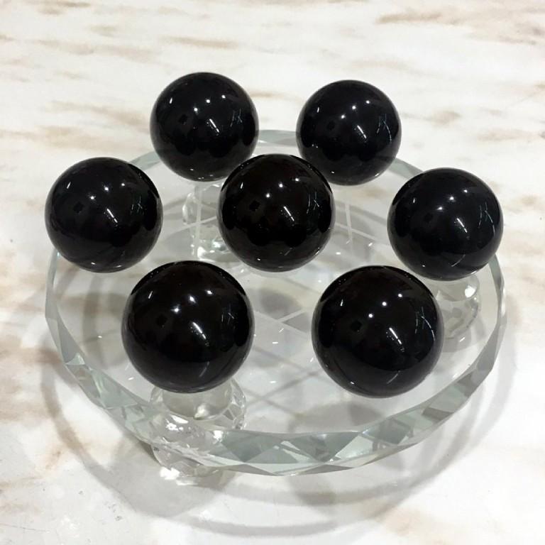 モリオン(黒水晶)七星陣セット(モリオン丸玉 7個 約25mm)天然石 魔除け Morion