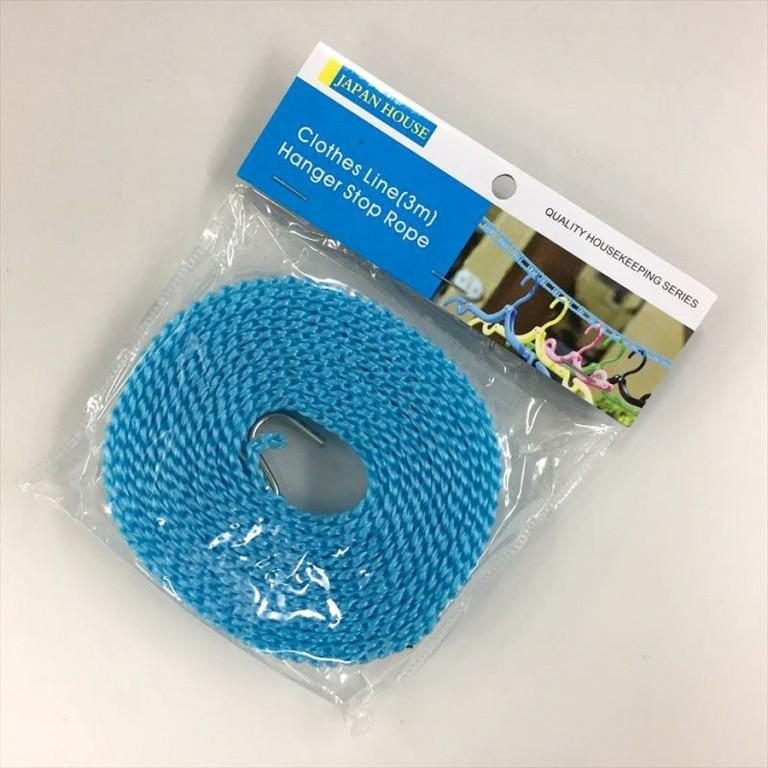 ハンガーストップロープ(3m)ブルー グリーン ピンク 物干 洗濯紐 洗濯ロープ おしゃれ 旅行 出張 アウトドア 100円均一