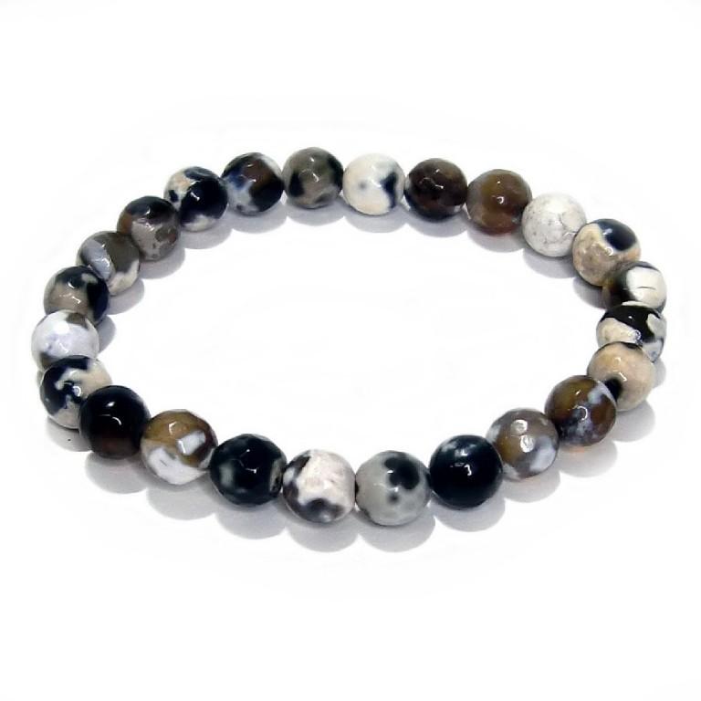 パワーストーン ブレスレット アゲート ブラック/ホワイト 7.5mm gemstonebracelet  agate