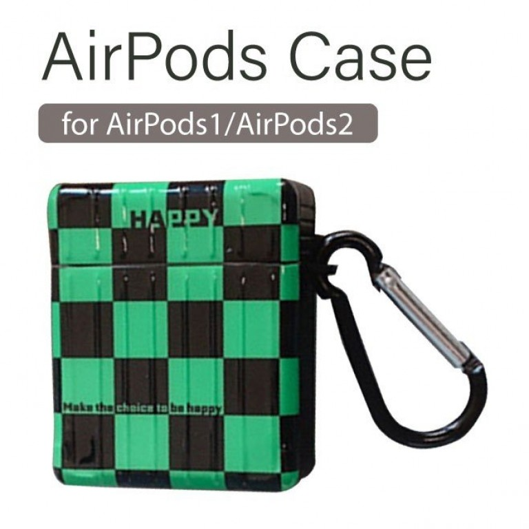AirPodsケース 保護ケース Apple Airpods 1/2 イヤホン 保護カバー 指リング 落下防止 ストラップ 市松模様 緑と黒 チェッカー