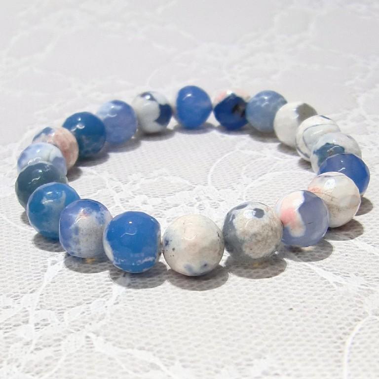 パワーストーン ブレスレット アゲート ブルー/ホワイト 10mm gemstonebracelet