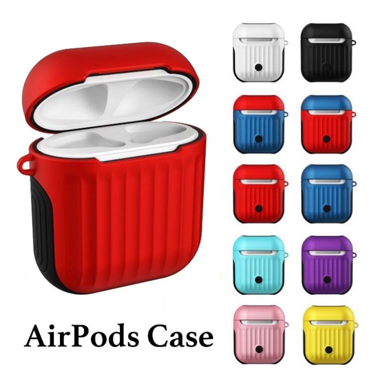 AirPodsケース トランク エアーポッズ エアポッズ カバー イヤホン ワイヤレス デザイン iPhone おしゃれ 白 黒 ピンク 赤 青 ネイビー 黄 水色 紫 ツートーン