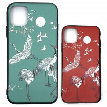 和柄TPUソフトケース 鶴 グリーン iPhone11/11Pro/11ProMax スマホ アイフォン ケース カバー 新作 アニマル 鳥 かっこいい 緑