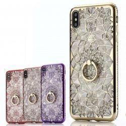 iphone11 ケース クリア ソフト かわいい 韓国 iPhone XR アイフォン11 Pro XS X 8 7 カバー キラキラ ライン ストーン クリスタル リング 付き バンカーリング